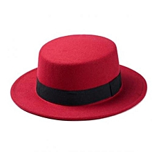 Unisex Flat Top Boater Hats with Black Band - Red