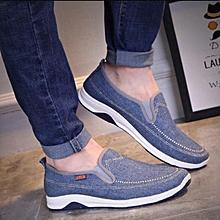 Loafers shoes canvas shoes men's shoes fashion low to help casual denim Lightblue