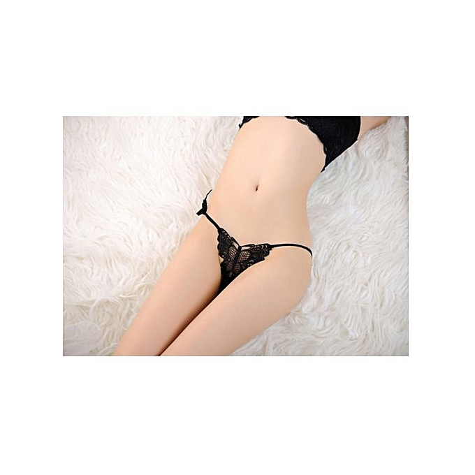3fe577e27b8 Refined Sexy Lingerie Butterfly Lace Banding Panties Thong Transparent Sexy  Women Temptation-black