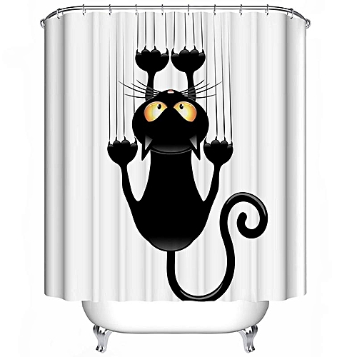 180180cm The Black Cat Waterproof Polyester Fabric Home Shower Curtain Bathroom