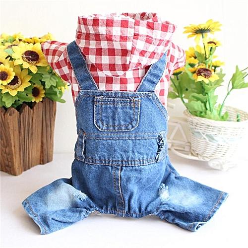 a7d557f4148 Generic Home-Cute Dog Denim Dress Skirt Summer Princess Pet Clothes Harness  blue