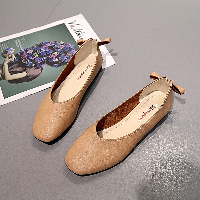 4e3252ad46c New Stylish Women Square Head Comfortable Flat Loafers Artificial Leather  Single Shoes -Brown