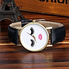Vansvar Africashop Watch  Watch Candy Color Male And Female Strap Wrist Watch-Black