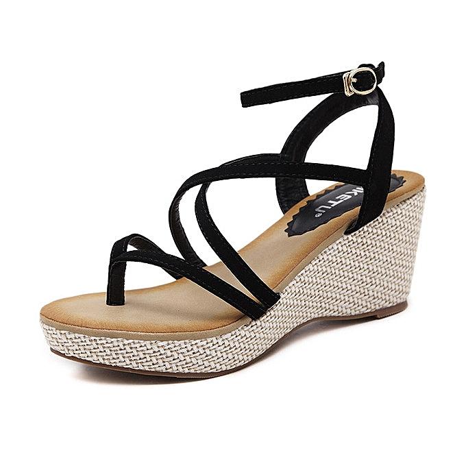 200e147c4 New style Large Size New women's wedge sandals Roman ribbon sandals woman  shoes -black