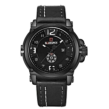 9099 Men Sports Watches Waterproof Quartz Wrist Watch 3D Dial Leather Band Creative Clendar Clock  ( Black-White)