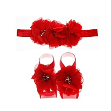 3 Pcs/set Toddler Kids Hairband And Barefoot Flower Sandals -Red