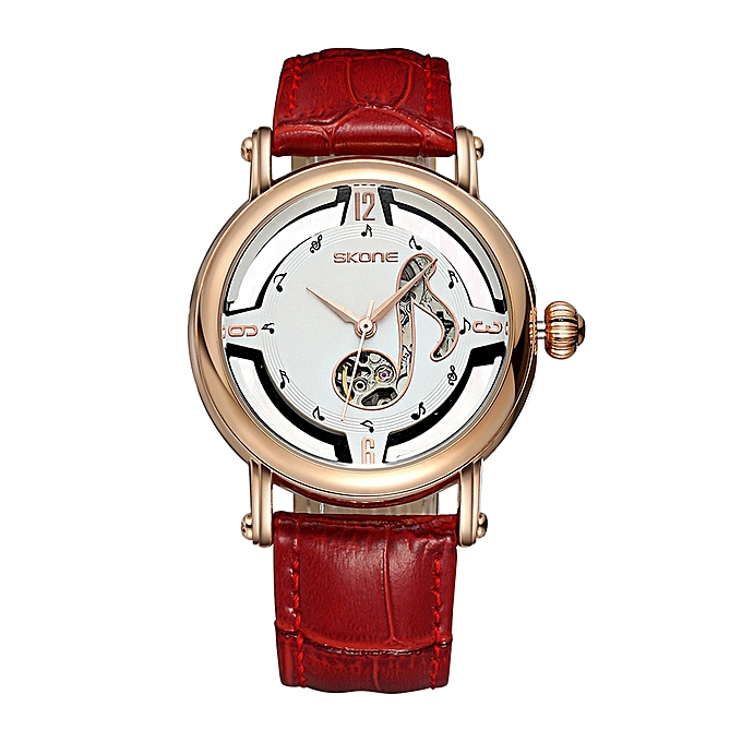 Wholesale SKONE 2618 Female Notes Rose Gold Automatic Self-Wind Mechanical  Watch es Women Leather Strap Skeleton Watch Fashion Ladies
