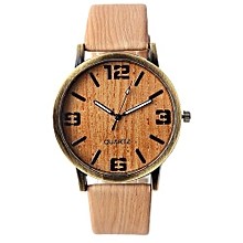 High-grade Casual Dress Pu Leather Lovers Luxury Men Watches Wood Pattern Wristwatch For Male Idea Gifts