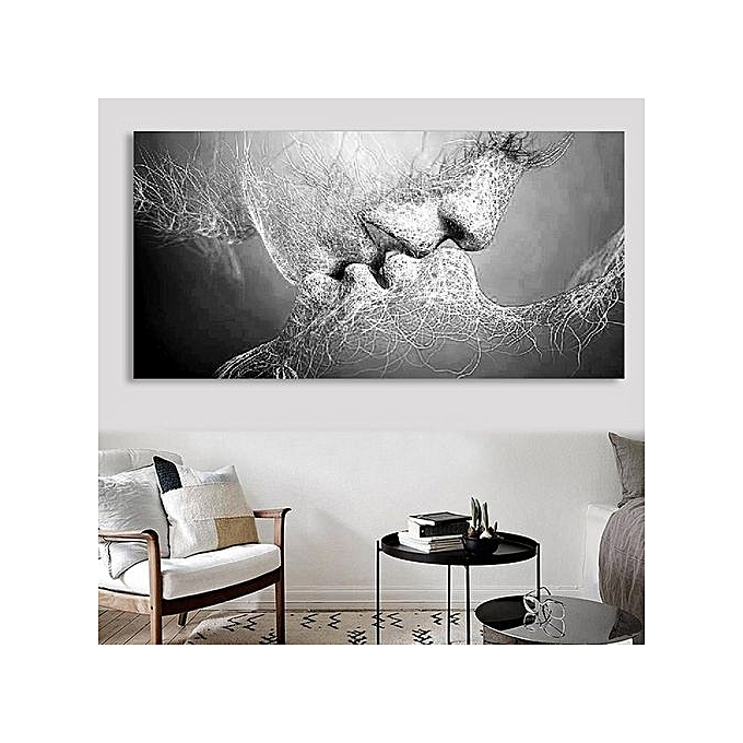 Buy UNIVERSAL Unframed Black Love Canvas Painting Print Picture ...