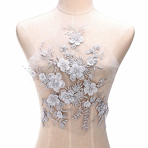 e65f0fc3d0 1x Wedding Dress Lace Fabric 3D Flowers Pearl Beaded Lace Applique DIY Craft