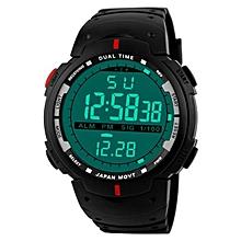 HONHX Africashop Watch  Fashion Men LED Digital Date Military Sport Rubber Quartz Watch Alarm Waterproof-Red