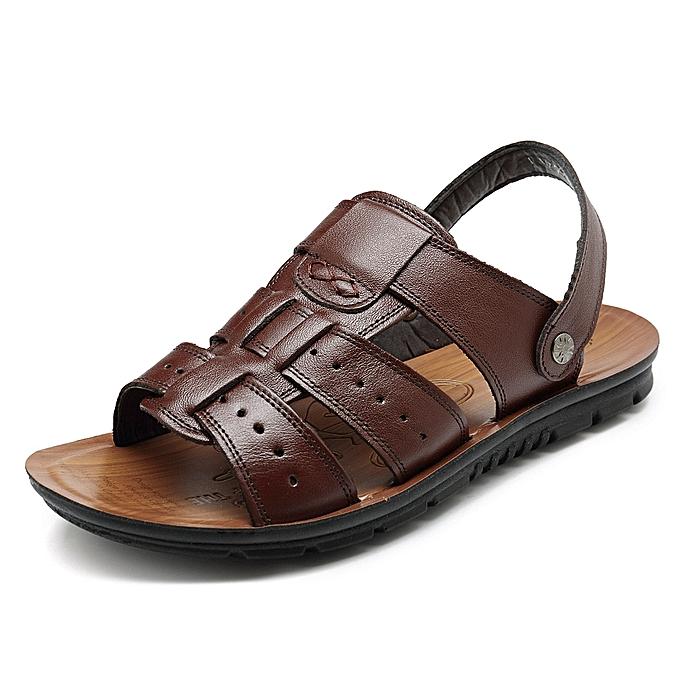 b17bae69bef2d Fashion Summer Beach Sandals Slippers Men Comfy Sole Genuine Leather ...