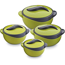 Set of 4 Parisa Thermo Dish Hot or Cold Casserole Serving Bowls with Lids Solid green