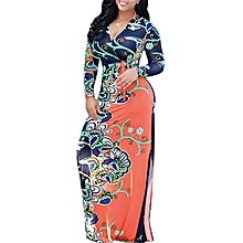 Nigerian Evening Gown Anakara Style Maxi Dresses-Orange