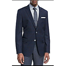 Men Broken suit- Navy Blue Checked executive Blazer plus grey Trouser- High quality.