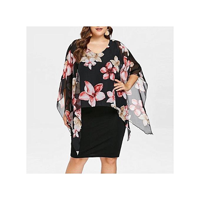6041126eb81 Hiaojbk Store Women Midi Dresses O Neck Wrap Chiffon Short Sleeve Plus Size Prom  Dress-