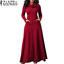 ZANZEA Evening Party Night Dress Women Bow Long Sleeve Pockets Solid Long Dress