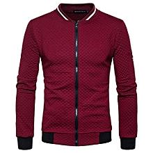 Hot Stuff Winter Men's Jacket Diamond Sweatshirt Lattice Contrast Color Zipper Collar Sweater Coat Off -Red