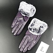 Africanmall store Women Lady Black Leather Gloves Autumn Winter Cat Ears Warm Rabbit Fur Mittens-Purple