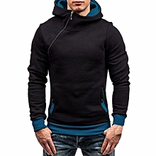 bluerdream-Men's Autumn Winter Long Sleeve Zipper Hooded Sweatshirt Tops Blouse BU/L- Blue