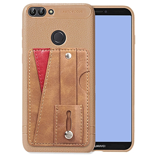 free shipping 3010f 467f1 Huawei P Smart Case,Slim Durable Sleek Leather Wallet Back Cover with  Credit Card Slots Kickstand and Wrist Strap Shockproof Stand Phone Case for  ...