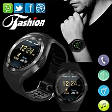 Smart Watchs Y1 Round display support Nano SIM &TF Card With Whatsapp and Facebook Men Women Business Smartwatch For IOS/ Android-black