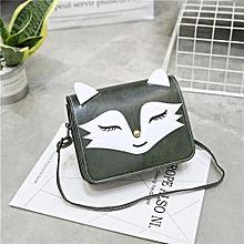 bluerdream-Women Leather Handbag Animal Fox Printing Shoulder Bags  GN-Green