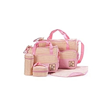 Pink With White Polka Dots 5 In 1 Diaper Bag With Changing Mat