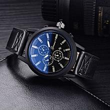 Olivaren GONEWA Men Quartz Analog Leather Strap 3ATM Date Sport Wristwatch GiftBlack