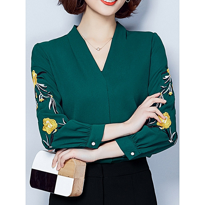 a28ab0681c2 Fashion Casual Women Solid Embroidery V-Neck Long Sleeve Blouse ...