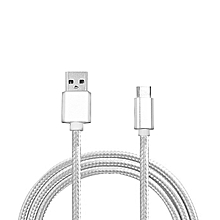 Micro Usb Cable For Nylon Braid Metal For Android Mobile Phone UsbData Cable Wire Alloy Charge(Silver)