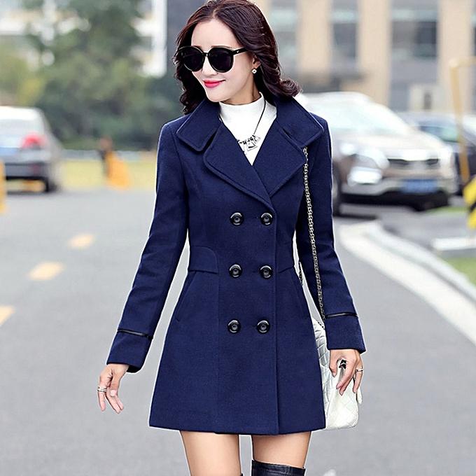 6ce34b18166a ... Hiamok Women Wool Double Breasted Coat Elegant Long Sleeve Work Office  Fashion Jacket ...