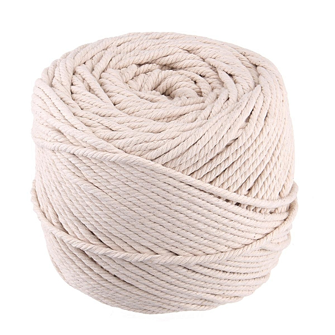 4mm(L-150m) Natural Cotton String Twisted Cord Craft Macrame Rope Artisan  2-5mm Diameter
