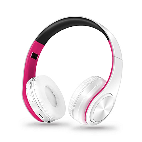 Portable Bluetooth Headphone Wireless Stereo Sound Headset Support FM radio  TF Solt AUX Handsfree for iPad Smartphone PC(white pink)