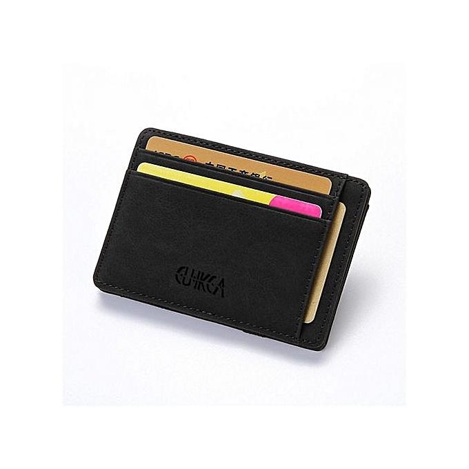 Men Slim Billfold Wallet PU Leather Credit Card Holder Coin Money Clip Zip Bag Black