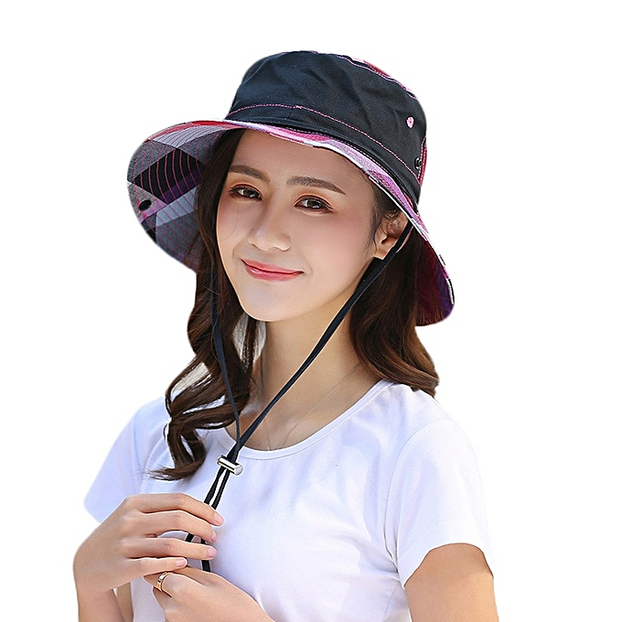 194f10cbd Summer Sun Hat For Women Large Brim Floppy Summer Cotton Bucket Hats Female  Beach Foldable Visor UV Caps Casual Basin Cap(black)