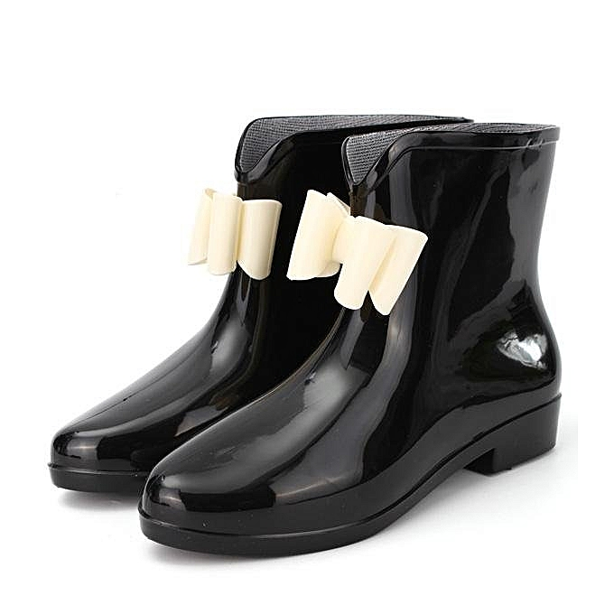 67651430b1f3e Women Heel Rubber Rain Shoes Ankle Boots Waterproof Wellies Wellington  Boots BLACK