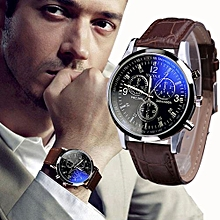 Blicool Wrist Watch Luxury Fashion Faux Leather Mens Blue Ray Glass Quartz Analog Watches-brown
