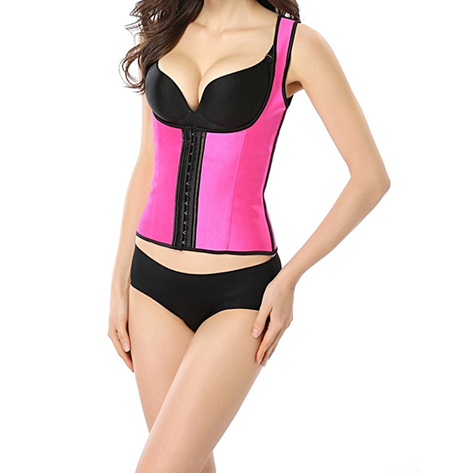 2a7d40219ec41 ... Women Fashion Camisole 9 Steel bones Waist Trainer Rubber Shapewear-Pink  ...