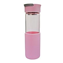 Glass Water Bottle - 550ml - Pink