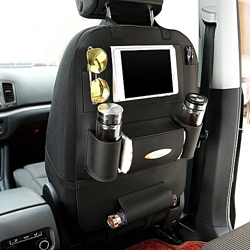Seat Back Organizer IPad Tablet Holder PU Leather Car Backseat Hanging Kick Mat Protector Travel