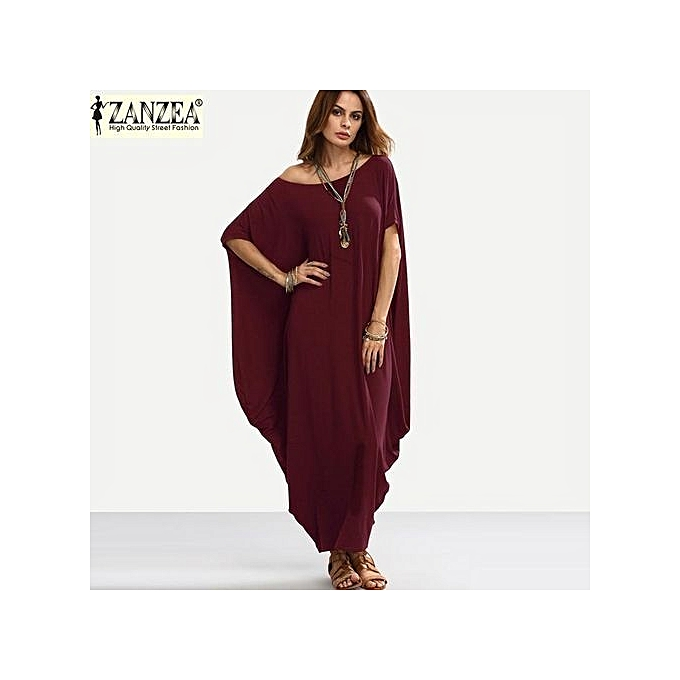 51f9248be3f6 ZANZEA ZANZEA Plain Women Maxi Dress Short Sleeve Off Shoulder Oversized  Long Shift Dress Baggy Robe (Wine Red)