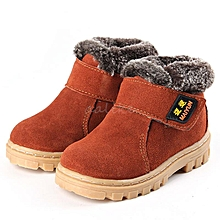 New Girls Boys Winter Warm Boots Kids Children Cotton Leather Shoes Snow Boots Brown-EU