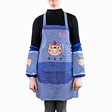GB clean kitchen apron antifouling cartoon bear little stripe long housework overclothes-0