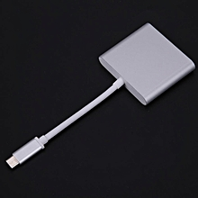 Computers Laptops Type C-Video Adapters Type C 3.1 ToUsb3.0+Hdmi+Type C Female Charger Adapter For Apple Macbook(Silver) HT