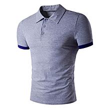 Men's Panel Design Polo T-Shirt - Light Gray