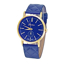 Fohting Geneva Fashion Unisex Casual Leather Band Quartz Analog Wrist Watch Watches DB - Dark Blue