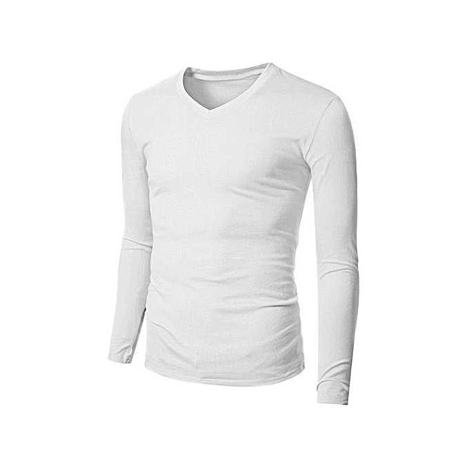 cf11d33a14e8 Men's Casual Slim Fit Shirt V Neck Long Sleeve T-Shirts Plain Tops (White