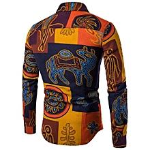 Mens Casual Long Sleeve Shirt Business Slim Fit Shirt Print  Blouse Top- Multicolor    XL