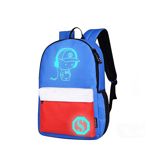 5296df1c3e Xingbiaocao Unisex Light Preppy Teenagers Noctilucent Cartoon School Bags Student  Backpack - Blue